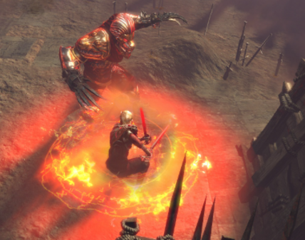 Character fighting an enemy with a Fire-arc