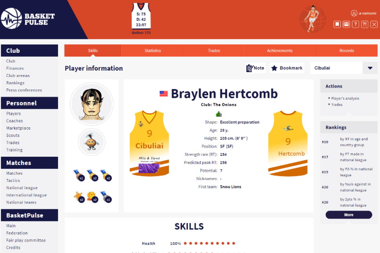 Player page