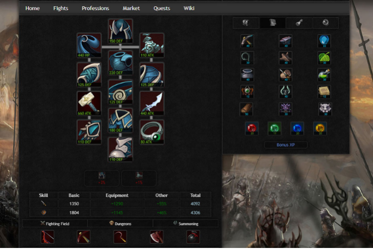 Equipment and Profession Tab