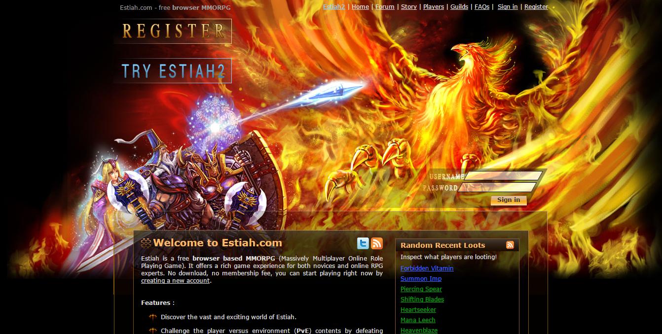 Estiah - text based browser game