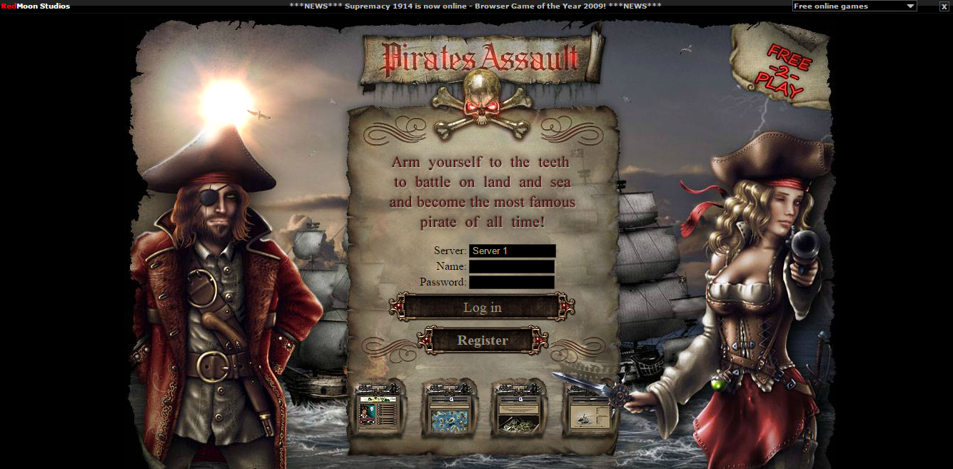 PiratesAssault - text based browser game