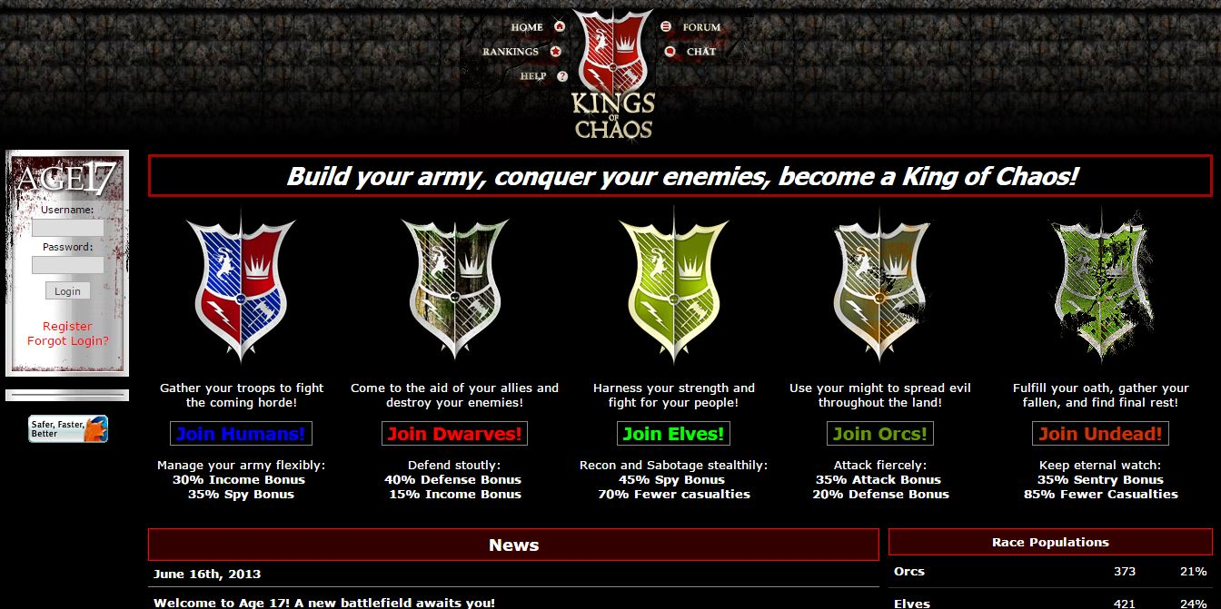 kings of chaos text based browser game. Black Bedroom Furniture Sets. Home Design Ideas