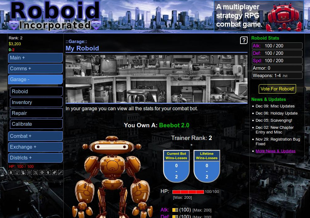 Text-based robot browser game
