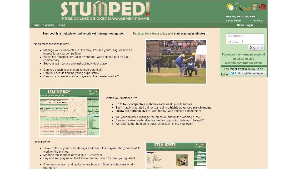 Online cricket management game
