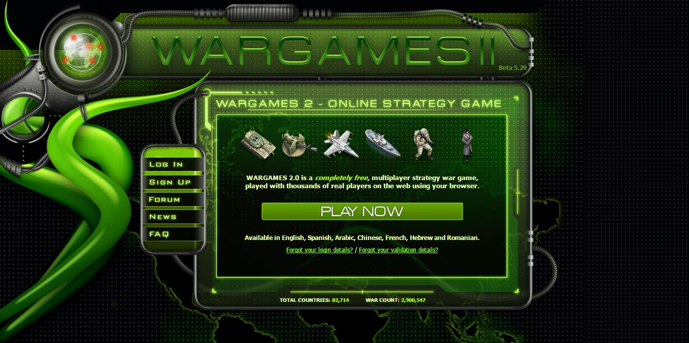 WarGames 2 0 - text based browser game