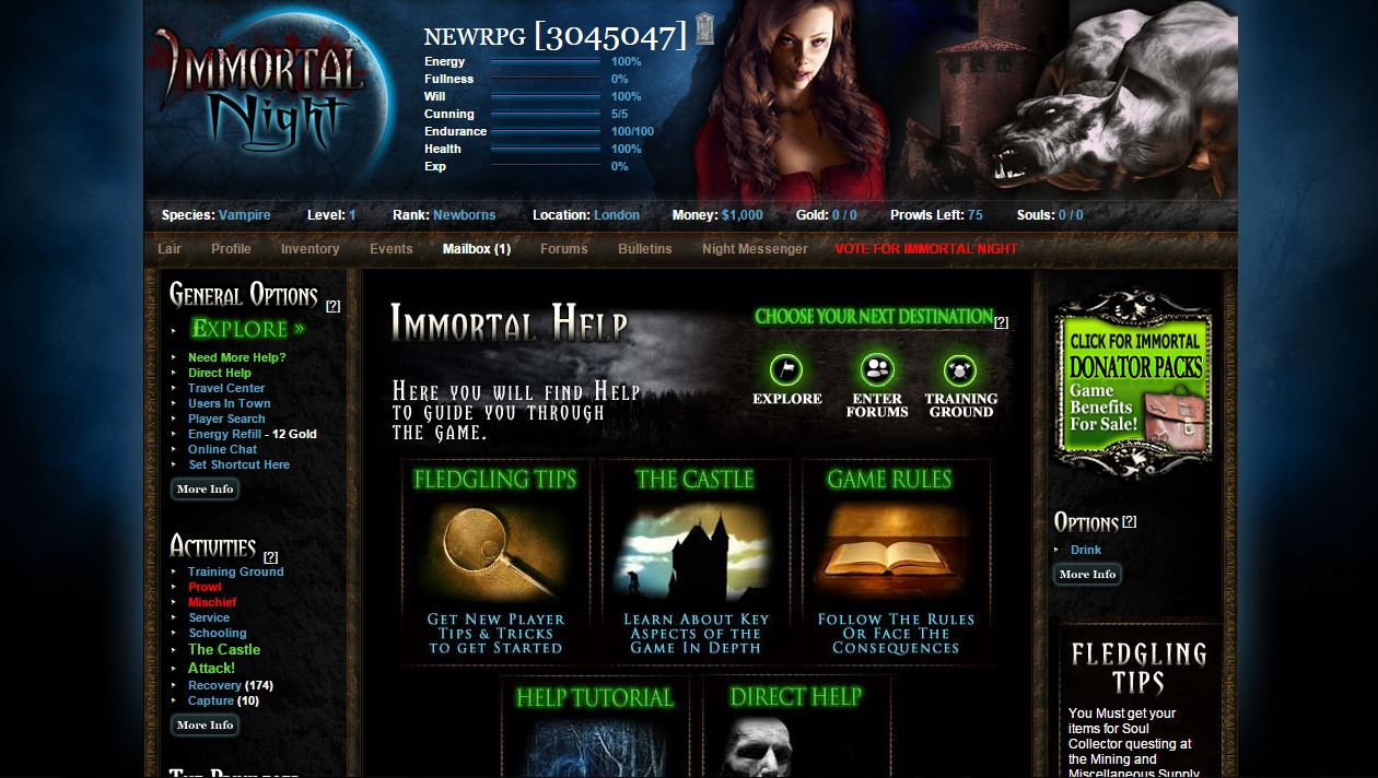 Vampire browser game