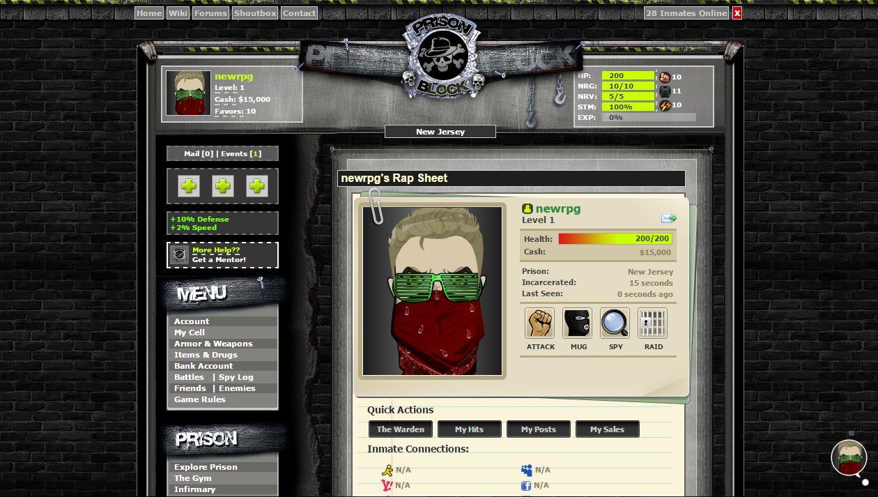 Prison based browser game