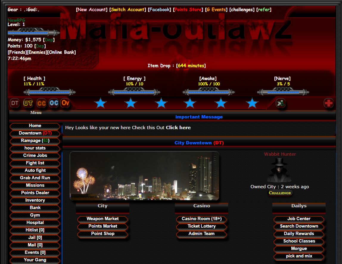 Mafia Outlawz Crime based online browser game